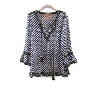 TORY BURCH Gwenna Ruffle sleeve tassel silk tunic
